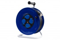 Przedłużacz na bębnie metalowym GRANDE fi 320 4x230V IP44 3x2,5 (OW) /15m/ z termikiem i kontrolką