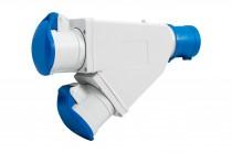 Adapter kempingowy wtyk 16A 3p przemysłowy, gniazdo 2x16A 3P przemysłowe IP44