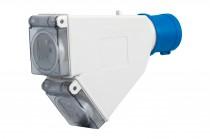 Adapter kempingowy wtyk 16A 3p przemysłowy, gniazdo tablicowe 2x230V IP44