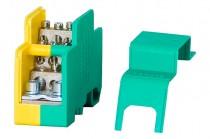 Однополюсный распределительный блок 160A- желто-зеленый
