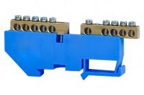 Клеммная колодка  2x5-модульная 2x5x16мм кв. -голубая