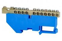Клеммная колодка  11- модульная 11x16 мм кв.,1x35 мм кв.- голубая
