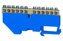 Клеммная колодка  12- модульная 12x16 мм кв.- голубая