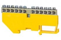Клеммная колодка  12- модульная 12x16 мм кв.- желтая