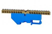 Клеммная колодка 18- модульная 18x16 мм кв.,1x35 мм кв.- голубая