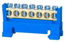 Клемма нулевая 7- модульная низкая база- голубая