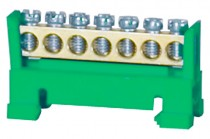 Клемма нулевая 7- модульная низкая база - зеленая