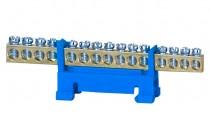 Listwa zerowa 15-modułowa niska podstawa - niebieska