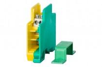 Однополюсный распределительный блок 60A- желто-зеленый корпус