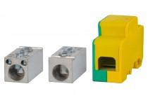 Blok rozdzielczy jednobiegunowy 250A 120 / 120, 2x16 - żółto/zielony