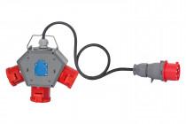 Rozdzielnia POLYBOX gniazda 3x32A 5p, 230V + OW 5x4mm2 - 3 metry+ wtyczka 32A 5p