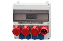 Rozdzielnica LAGO Gniazda 2x16A 5p, 32A 5p, 4x230V, Wtyczka odbiornikowa 32A 5p  /17 modułów/
